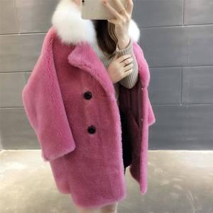 女装2019新款潮棉衣秋冬仿颗粒绒羊羔毛皮草外套女加厚中长款大衣