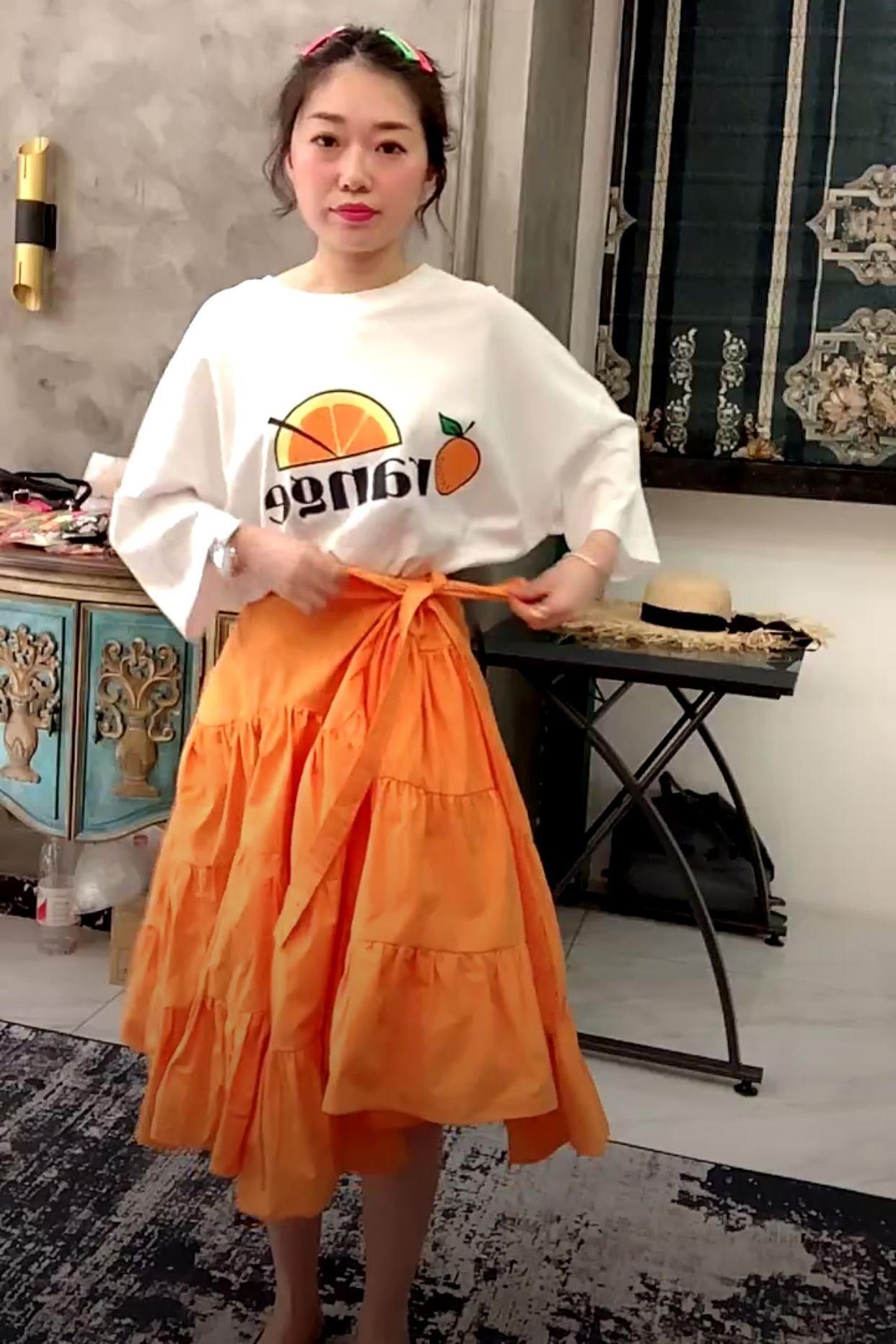 波拉BORAKOO韩国东大门夏正品 出游b入~白色橘子宽松中长短袖T恤