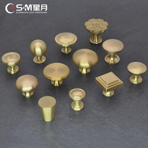黄铜拉手仿古铜简约新中式单孔抽屉柜门美式圆形橱柜金色纯铜把手
