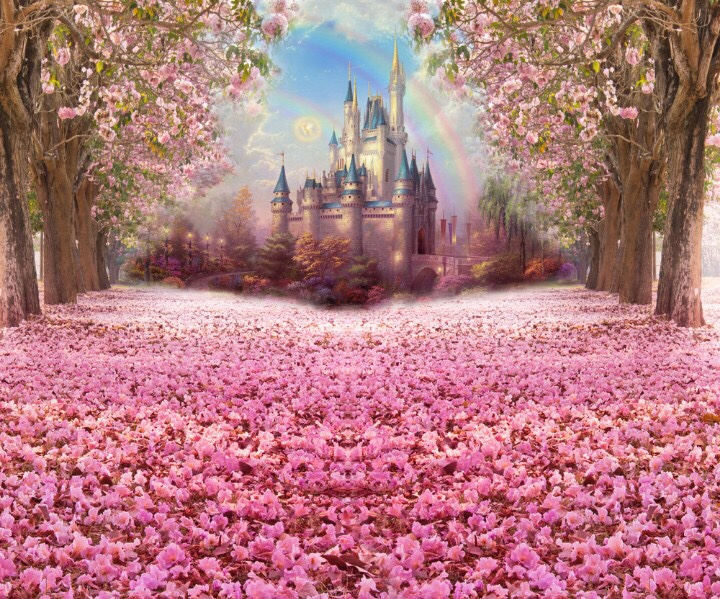 印花新款DMC纯棉十字绣套件客厅卧室儿童房风景梦幻城堡 粉色森林