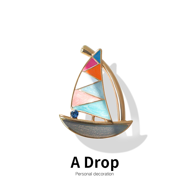 Simple sailing Brooch high grade retro temperament badge pin suit sweater cardigan accessories mens and womens Brooch gift