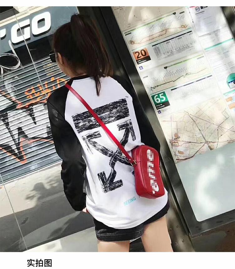 新款韩版宽松黑白拼接长袖t恤女学生bf纯棉中长款百搭情侣上衣潮