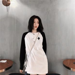 港味簡約慵懶風黑白拼色T恤女長袖中長款時尚百搭貼布遮臀上衣潮