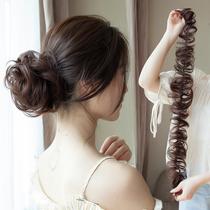 低丸子真发毛毛虫发圈假发女蓬松丸子头饰缠绕式花苞头花卷发条