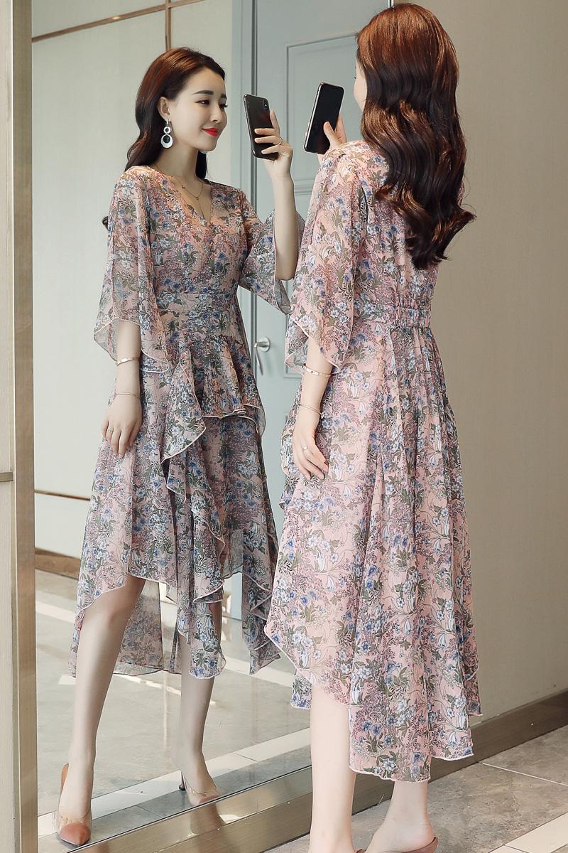 西纳维思显瘦2018夏季女装艾莲达新款连衣裙子风笛黎姿专柜雪纺