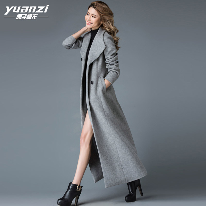 Garden clothes 2020 winter new European and American wool coat womens Lapel super long coat womens ankle 026