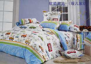 Happy selling 100% cotton bedding urban car essential boy cartoon family of four around the cloth cribs