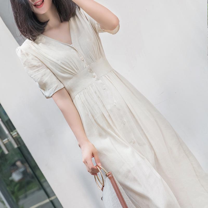 米白色冷淡风V领短袖棉麻长裙连衣裙女夏 收腰显瘦亚麻连衣长裙仙