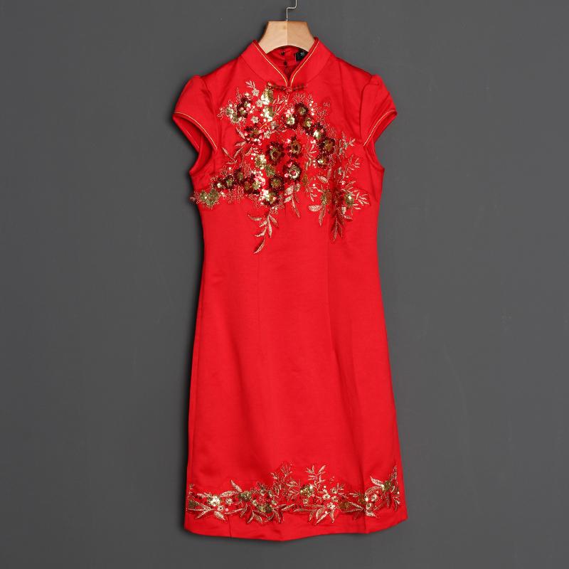 梦至C新品人气旗袍显瘦裙短款夏季修身复古改良舞会连衣裙红色