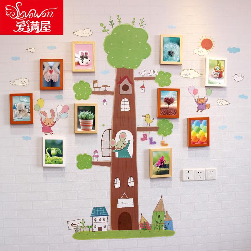 7寸子供部屋の写真壁に壁を飾って、写真フレームを飾って、diy創意的な個性の幼稚園の写真壁に額縁を貼って組み合わせます。