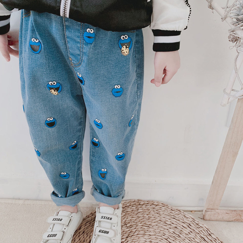 Spring and autumn new boys and girls pants childrens wear childrens jeans cartoon Sesame Street manyin casual pants
