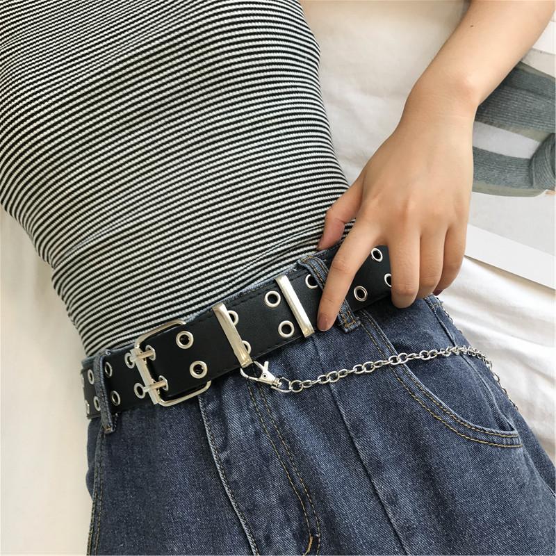 限时秒杀双排孔时尚造型皮带设计自制ins超火圆环女士腰带链条朋克风BF潮