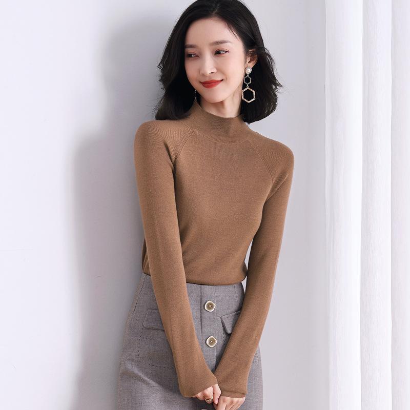 天丝羊毛衫女半高领套头内搭打底针织上衣休闲正装薄款毛衣针织衫