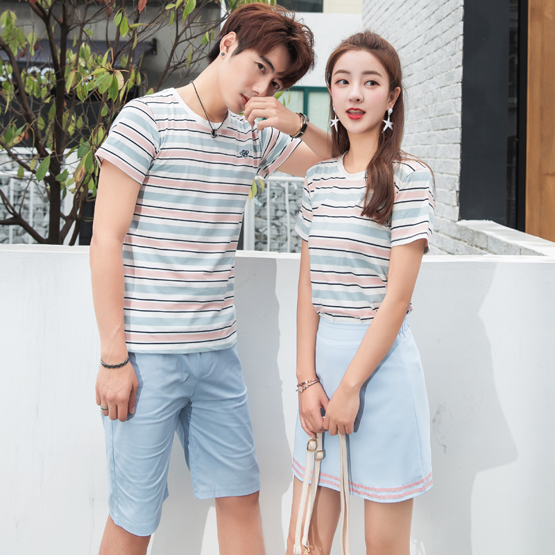 Different lovers summer suit temperament Korean same color short sleeve fashionable ins super fire your dress my skirt