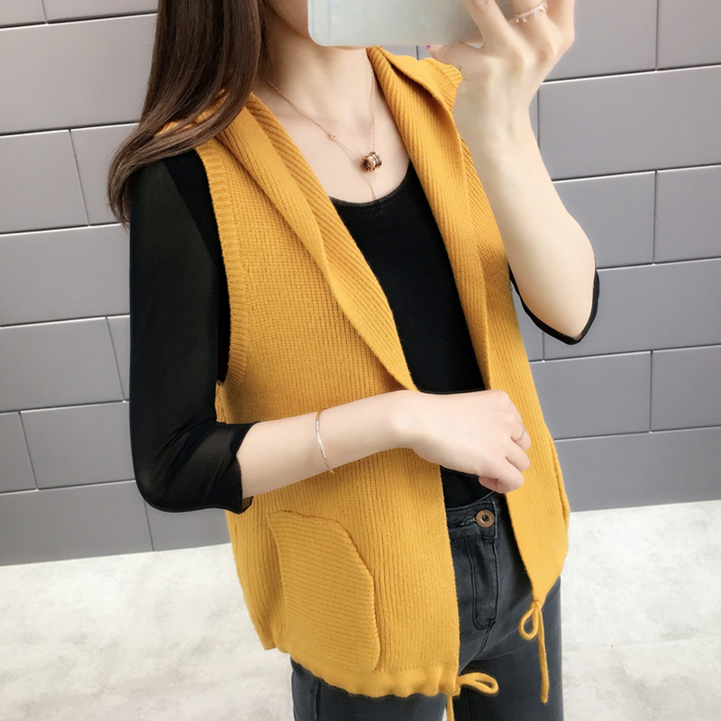 Woollen vest womens Hoodie over knitted vest thin loose sleeveless sweater jacket cardigan over shoulder autumn