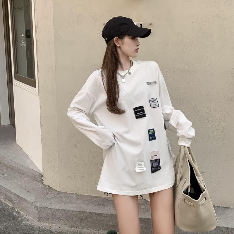实拍春季新款港风个性不规则潮酷贴章黑白宽松套头长袖T恤上衣P59