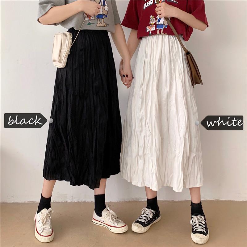 2020春装新款百搭很仙的半身裙学生高腰显瘦百褶裙子女