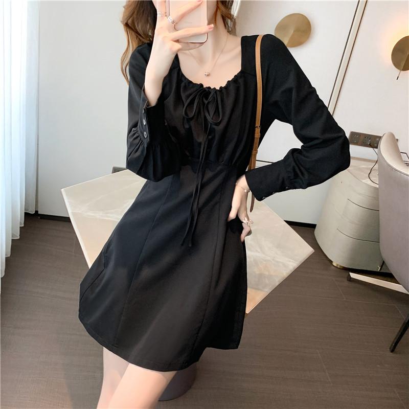 实拍2020秋新款小个子短裙修身长袖方领黑色连衣裙打底裙女装P65