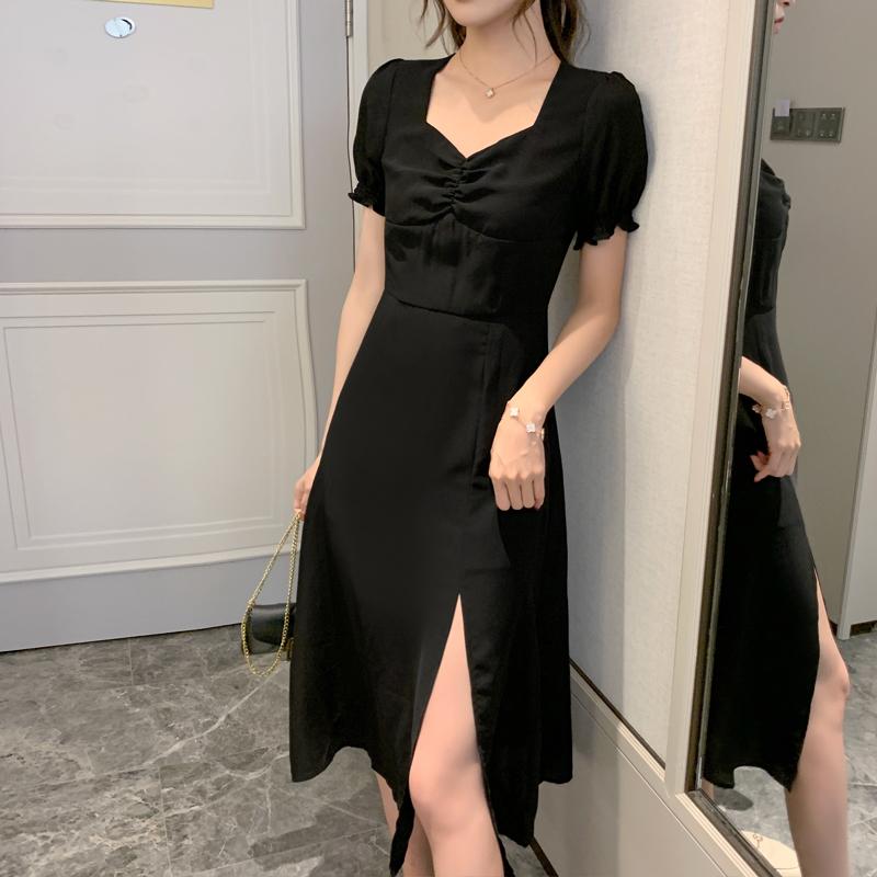 实拍2020夏季新款法式复古开叉收腰长裙黑色泡泡袖雪纺连衣裙子女