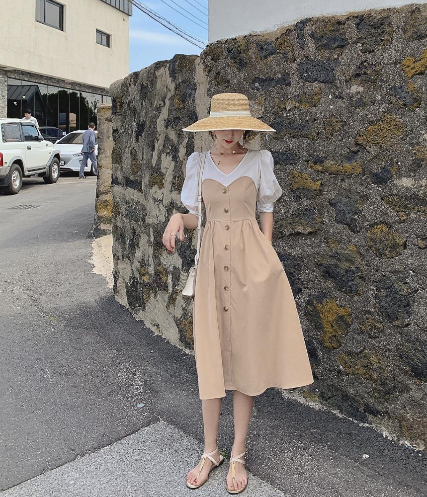夏季很仙的法国小众法式桔梗复古连衣裙子过膝智熏高腰