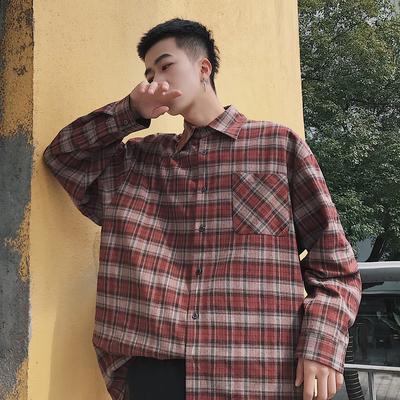 秋季新款青少年港风格纹潮流休闲宽松衬衫Y170P65 限价78