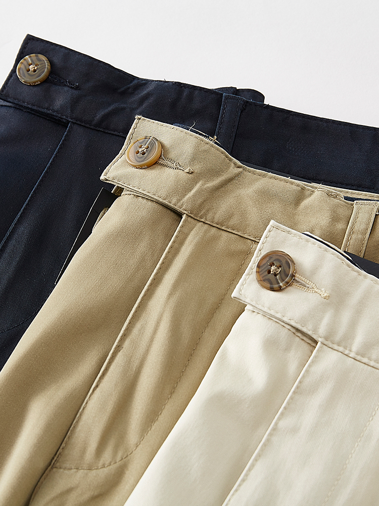 Milan spring and summer pure silk smooth fabric mens easy wear slim straight business casual pants
