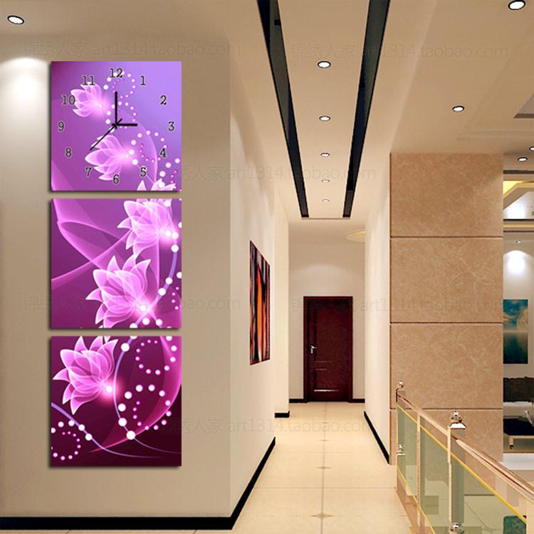 Мода искусство современный минималистский Часы настенные часы гостиной европейском стиле спальни настенная вертикальная тройной фотография фоторамка настенные часы