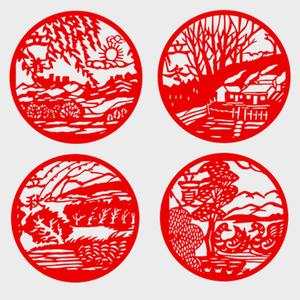 24节气剪纸中国风传统二十四节日手工红宣纸学校刻纸环创福字直销