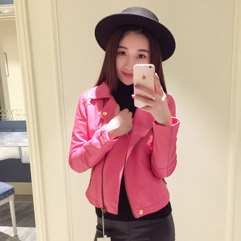 Jacket Womens Korean leather jacket spring and Autumn New Womens short motorcycle long sleeve large PU leather jacket jacket jacket