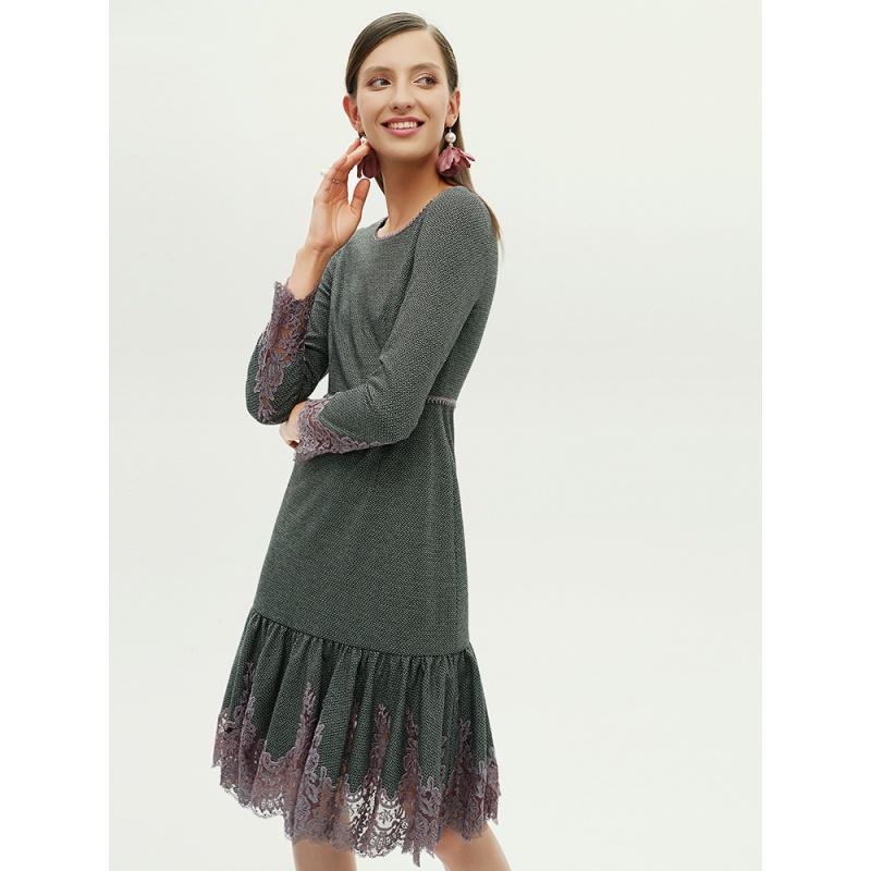 HON·B/红贝缇蕾丝拼接花边裙摆收腰显瘦2020新款连衣裙