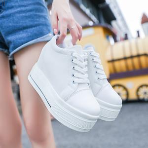 2021低帮帆布鞋女夏韩版学生内增高女鞋子休闲鞋白色厚底松糕单鞋