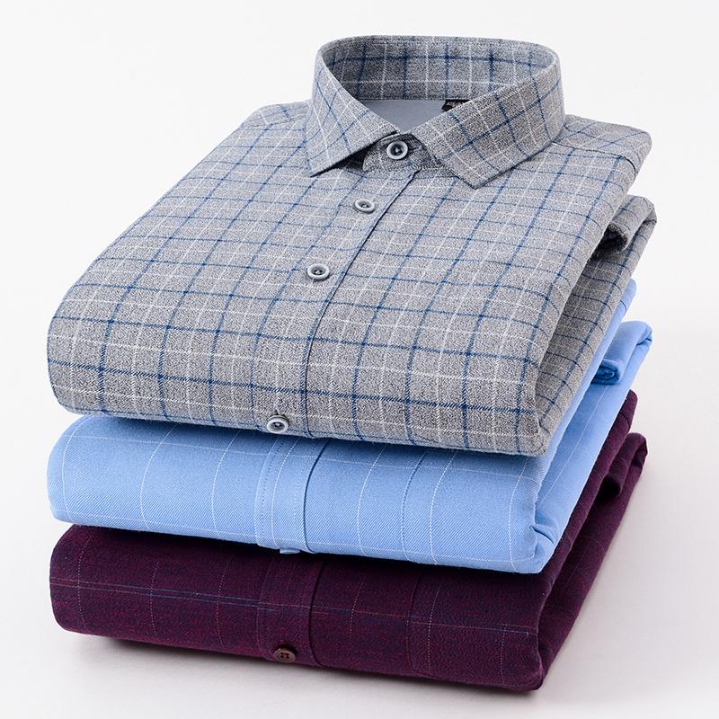 男士加绒衬衫男长袖休闲宽松中老年人爸爸装冬季加厚保暖衬衣图片
