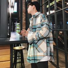 男潮韩版 长袖 宽松休闲复古男生外穿衬衣外套 2019秋季 磨毛格子衬衫