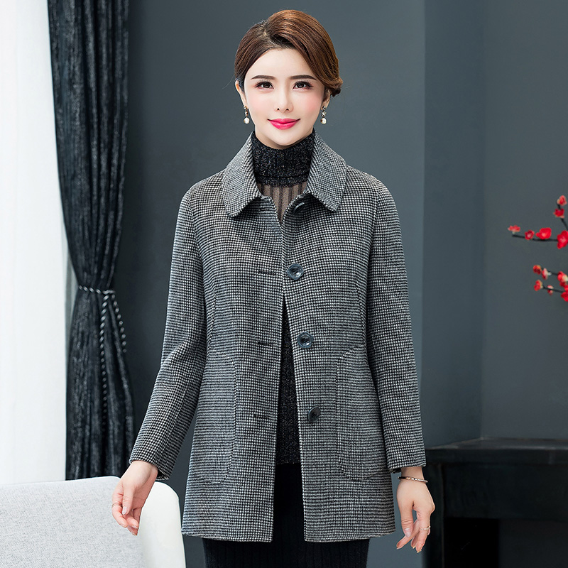 2020 thousand bird check double-sided Plush wool coat women's short middle-aged and old people's small wool coat mother's spring