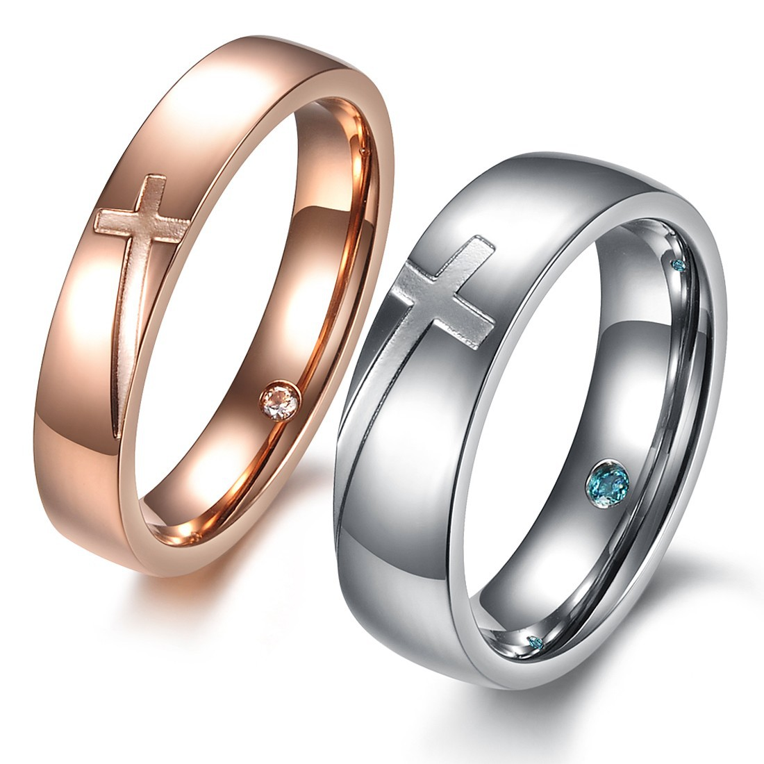 European and American fashion fashion ring cross puzzle ring ring ring with diamond inner ring and titanium steel couple tail ring accessories