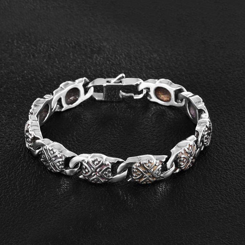 Gothic Punk domineering for mens personality stainless steel bracelet fashionable titanium steel bracelet head ornament in Europe and America