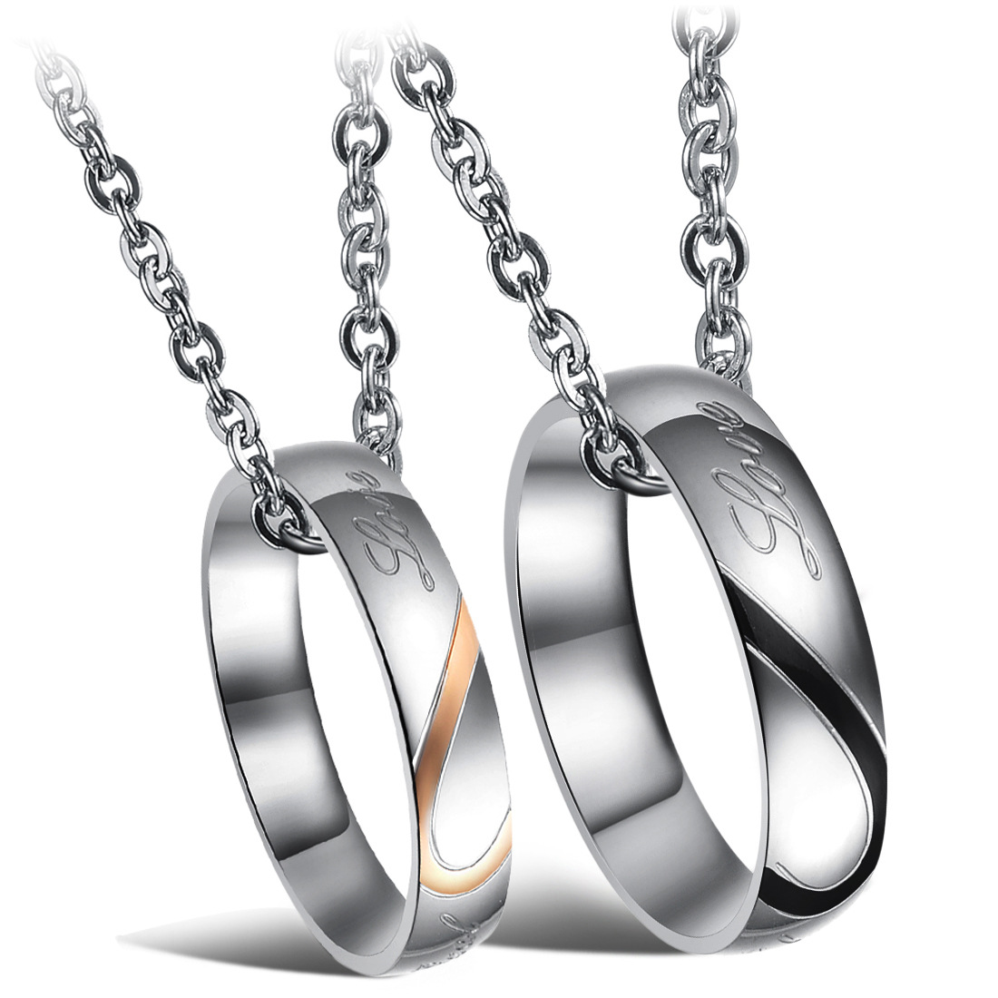 European and American fashion first jewelry heart-shaped puzzle titanium steel ring fashion men and women pendant neck Necklace Valentines Day gift