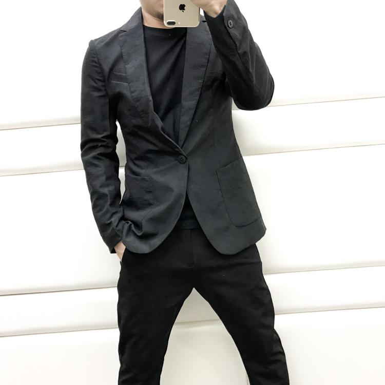 天丝混纺自然褶皱定制面料男西服型休闲修身单西便西服外套 C1369