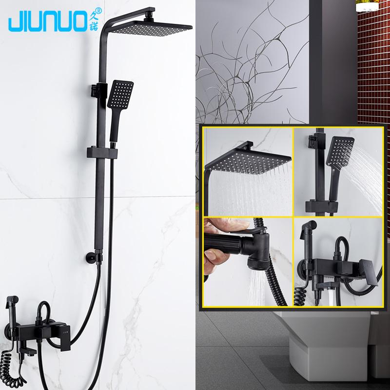 北欧分体式黑色淋浴花洒套装分离升降杆莲蓬头淋浴器增压喷头家用