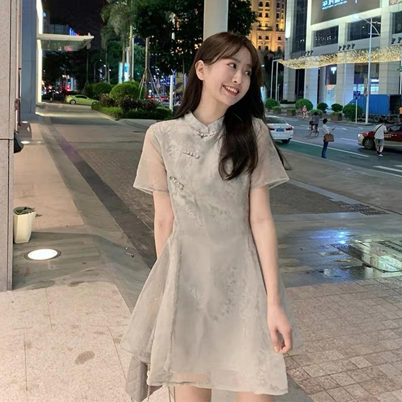 2020新款小個子旗袍改良版連衣裙女夏桔梗法式赫本歐根紗仙女裙子