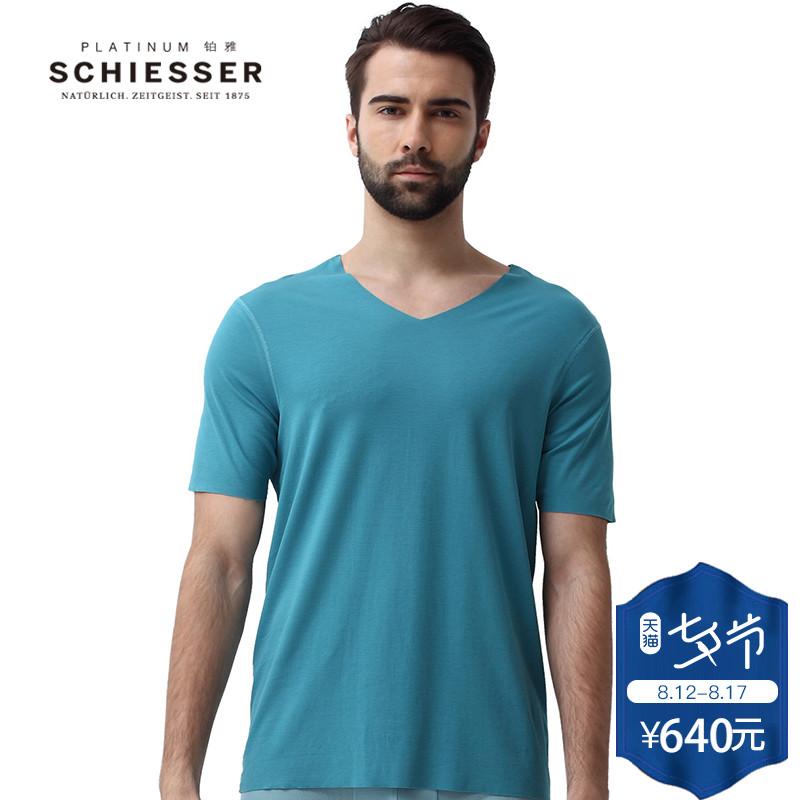 Schiesser/舒雅【铂雅随型裁】男士长绒棉短袖家居上衣95/0354M