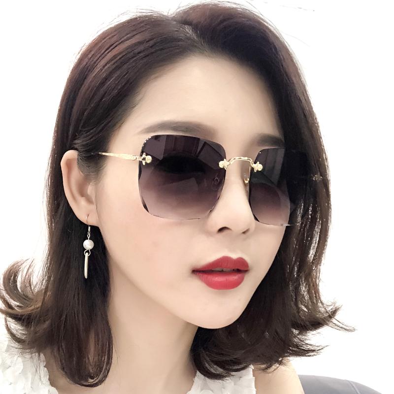 New frameless square Sunglasses Womens round face long face star Sunglasses Womens big face square face elegant UV protection