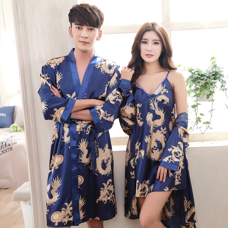 Spring and autumn summer couples Nightgown mens pajamas womens short sleeve long sleeve ice silk bathrobe thin suspender skirt household clothes