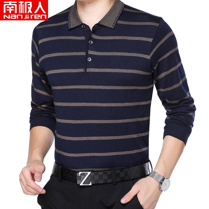 中年爸爸装长袖T恤男2020春季新款翻领宽松体恤打底衫