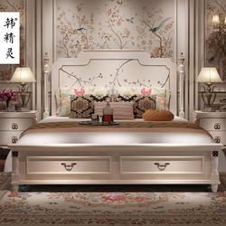 韩精灵轻奢美式床欧式床彩绘手绘艺术家具公主床主卧1.8双人婚床