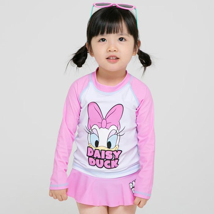 新品可爱长袖大中小女儿童连体裙式游泳衣比基尼卡通鸭子米妮