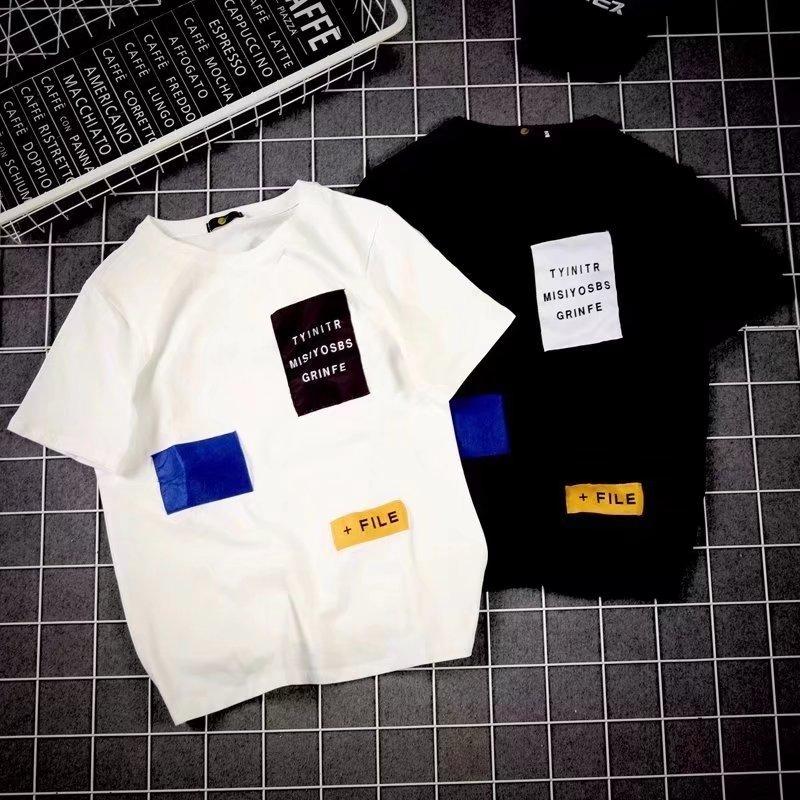 日系男士原宿港风情侣装韩版短袖白色T恤修身个性简约上衣体恤潮