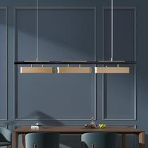 现代全铜长形餐吊灯北欧简约样板房吧台卧室三头餐厅轻奢镂空吊灯