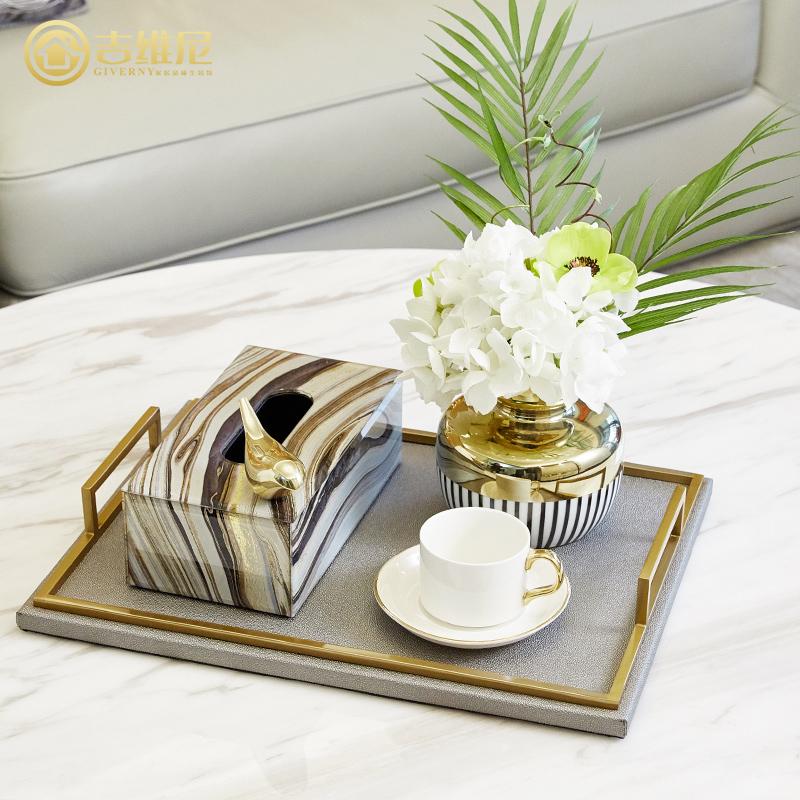 美式家居收纳托盘套装客厅茶几样板房摆件创意轻奢欧式饰品装饰品