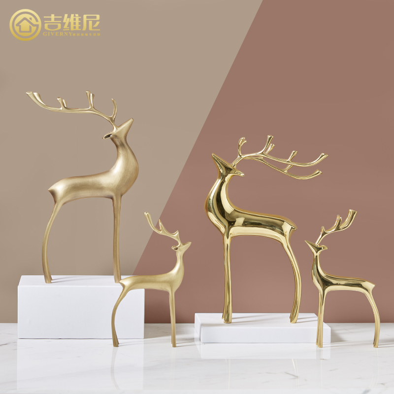 轻奢铜鹿纯铜摆件家居饰品黄铜装饰品电视柜玄关全铜小鹿美式装饰